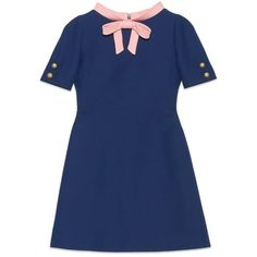 Gucci Wool Silk Dress With Bow ($2,200) ❤ liked on Polyvore featuring dresses, blue, bow dress, back zipper dress, wool dress, short-sleeve maxi dresses and blue short sleeve dress