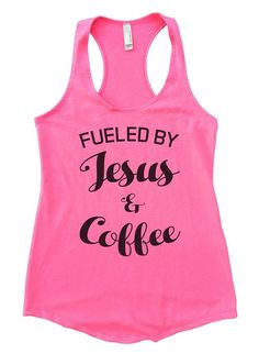 Flowy Womens Fueled By Jesus and Coffee Racerback Workout Tank Top Small, Heather Pink
