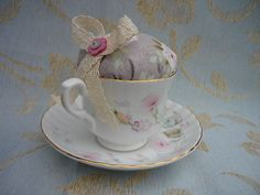 Pretty Shabby Chic Vintage Tea Cup Pin Cushion with Lace Bow and Button Details | eBay