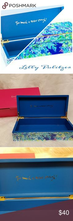 """Lilly Pulitzer Wave & Sea Large Lacquer Box Lilly's Wave & Sea large lacquer box can definitely store all of your jewelry needs! Her signature logo and bright colors will add pizzazz to your area! *Lacquer finish box with Gold accents *Interior artwork """"Too much is never enough!"""" *Hinged lid *10"""" W × 4 1/2"""" D × 2 1/2"""" H *Imported Lilly Pulitzer Other"""