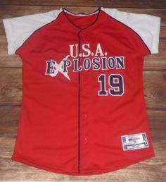 Take a look at these custom jerseys designed by U.S.A. Explosion Softball and created by Sports Cellar in Coeur d'Alene, ID! http://www.garbathletics.com/blog/explosion-softball-custom-jerseys-2/ Create your own custom uniforms at www.garbathletics.com!