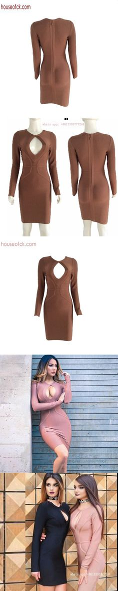 2017 spring bandage dress long sleeve sexy hollow out brown dresses short party dresses vintage