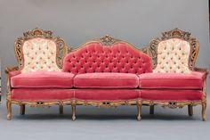 Watermelon Sofa | Pink Vintage Carved Sofa