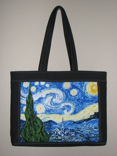 Quilted Tote Bag , Cotton Canvas Purse , Vincent Van Gogh Starry Night Panel by VillageQuilts on Etsy