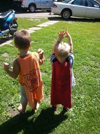 kid capes made from adult t-shirts. leave neck intact to slide over head, how simple!