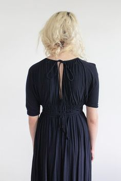 Navy Blue Grecian Dress / Vintage 70s / Women / VAUX