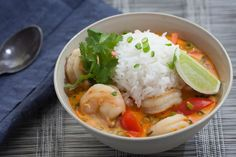 Thai Shrimp Soup with Coconut, Lemongrass & Red Curry. Visit http://www.blueapron.com/ to receive the ingredients.