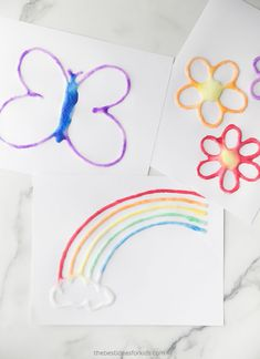 Spring Salt Painting - The Best Ideas for Kids Food Art For Kids, Animal Crafts For Kids, Easy Crafts For Kids, Summer Crafts, Diy For Kids, Preschool Painting, Painting Activities, Art Activities For Kids, Painting For Kids