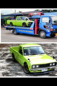 Lime green Datsun 620