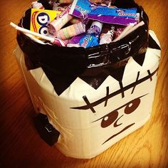 Create a DIY glow in the dark duct tape Frankenstein bucket that perfectly holds Halloween candy and treats. http://duckbrand.com/craft-decor/activities/frankenstein-candy-dish?utm_campaign=dt-crafts&utm_medium=social&utm_source=pinterest.com&utm_content=duct-tape-crafts-halloween