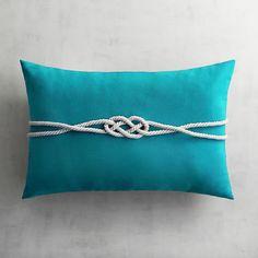 Cabana Turquoise Rope Lumbar Pillow   Pier 1 Imports