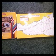 Sneaker coloring book. 100 different kind of sneakers, AF1 Retro 1s adidas, Nike, Reebok, puma and plenty others. Brand new set of colored pencils never opened. Never colored in. Can work into a bundle with shoes or what not. Nike Other