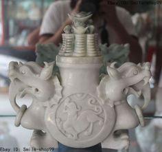 "10"" Chinese Natural White Jade Wealth Dragon Beast Statue incense Burner Censer"