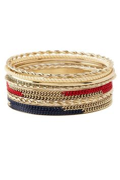 Blue, red and gold bangle set - would look great with summery khakis or a flowy maxi dress