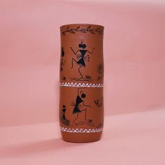 360 degree view of earthen pot with Warli painting,