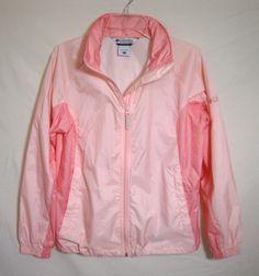 Columbia Pink Windbreaker Hoodie Packable Raincoat Lightweight Womens Medium  #Columbia #Windbreaker