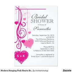Modern Hanging Pink Hearts Bridal Shower
