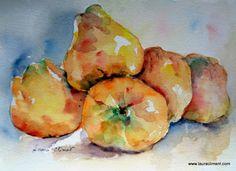 LAURA CLIMENT.  Quinces, membrillos, watercolor Gardens, Watercolor, Fruit, Vegetables, Painting, Art, Watercolor Painting, The Fruit, Painting Art