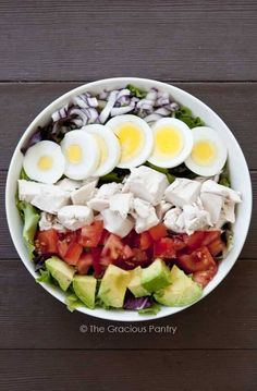 Clean Eating Cobb Salad - Days 1- 10 dinner (no avocado); days 11-24 dinner (with bacon)