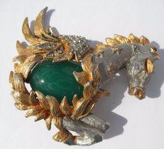 A/F Rare Vtg Kenneth Jay Lane KJL Pegasus Winged Horse Rhinestone Brooch Pin