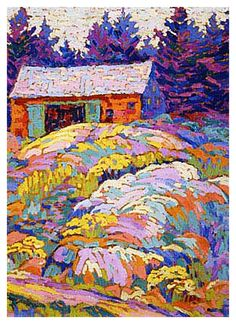 Lawren Harris's Landscape with a Barn Ontario Canada Landscape Counted Cross Stitch or Counted Needlepoint Pattern