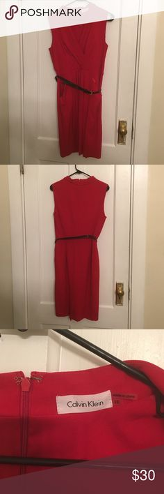 Red Calvin Klein dress Comes with skinny black belt v neck Calvin Klein Dresses