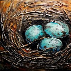NEST 2, 9100, textured birds nest with eggs, original painting by artist Carol Nelson | DailyPainters.com