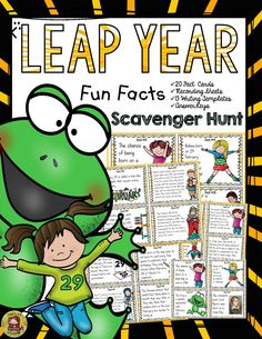 If you are born on Leap Day, will you have to wait four years to celebrate your next birthday? Although, both years are century years, why was the year 2000 a leap year and not the year 1900? What are babies born on Leap Day called? Your students will enjoy knowing the answers to these and many more interesting questions with this 20 Scavenger Hunt Fun Facts pack on Leap Year.  https://www.teacherspayteachers.com/Product/LEAP-YEAR-2403355