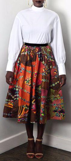 "NEW The Shavon Midi Skirt. Full Midi Skirt w/ Pockets and 1.5"" elastic waist band skirt. FABRIC CONTENT: 100% Holland Wax Cotton.    Ankara | Dutch wax | Kente | Kitenge | Dashiki | African print dress | African fashion | Ankara maxi skirt | African prints | Nigerian style | Ghanaian fashion | Senegal fashion | Kenya fashion | Nigerian fashion | Ankara styles | Ankara dress (affiliate)"