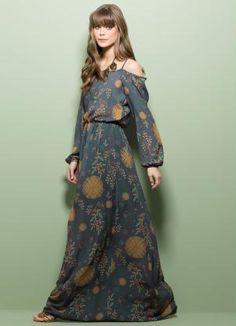 Vestido Longo Ciganinha Estampa Floral - Posthaus