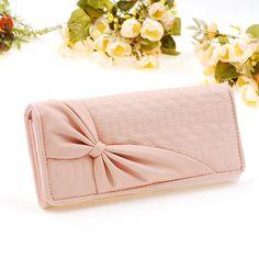 New pink bowknot design lady purse long women Faux leather clutch wallet bag
