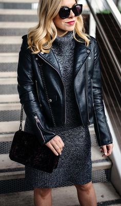 #winter #outfits black leather motorcycle jacket and black knitted dress