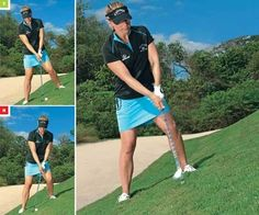 All in the setup: If you match your hips and shoulders to the angle of the slope (inset top), you'll set up solid contact. If you press into the hill (inset above), you'll swing steep and tend to hit it fat.