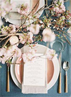 spring cherry blossom and dusty blue wedding decor