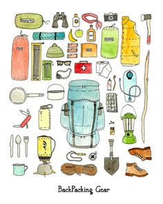 Backpacking gear checklist art print by jodiburton on Etsy,