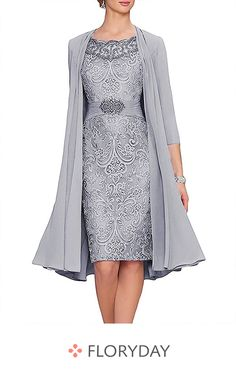 Knielanges Kleid mit Flügelärmel Woman Jackets and Blazers woman within plus size jackets Mother Of Bride Outfits, Mother Of Groom Dresses, Mother Of The Bride, Women's Dresses, Fashion Dresses, Formal Dresses, Bride Dresses, Blazers For Women, Jackets For Women
