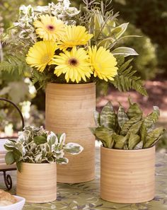 Use these chic planters and vase to display grasses, plants or flowers.
