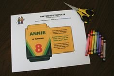 Custom Crayon Box Invitation ~ The template is in Microsoft Word format, and the text is completely customizable... perfect for an Art Theme Party