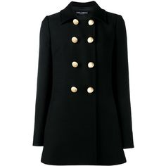 Dolce & Gabbana double breasted peacoat (4.370 BRL) ❤ liked on Polyvore featuring outerwear, coats, coats 2, black, double breasted peacoat, long sleeve coat, double-breasted pea coat, pea coat and pea jacket