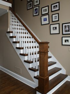Squared Treads - traditional - staircase - atlanta - Vision Stairways and Millwo. Squared Treads – traditional – staircase – atlanta – Vision Stairways and Millworks Painted Staircases, Wood Staircase, Wooden Stairs, Staircase Design, Staircase Pictures, Stairway Walls, Traditional Staircase, Staircase Remodel, Staircase Makeover