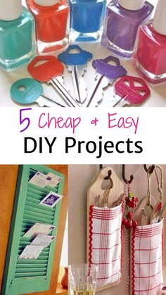 Cheap and EASY DIY projects for the home (make great homemade gifts too!) These DIY ideas are simple and super cheap to do. The DIY idea with old toilet paper rolls is BRILLIANT! Who knew those old cardboard rolls could be useful?!!?