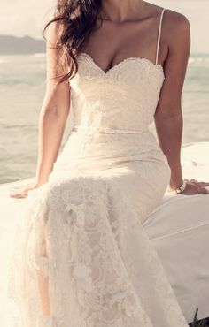 Sweetheart neckline. Low back. Soft mermaid style. Bead and lace detailing. #dream