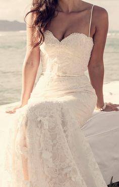 low back wedding dress, backless wedding dress. #beachwedding #mauiwedding #hawaiiwedding ivory lace, pearl beading, champagne wedding dress, bustier wedding dress,