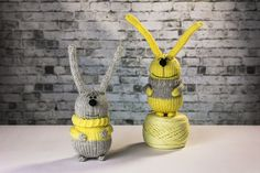 Grey knitted bunny in the yellow sweater. Knitted toy. Soft toy. Cute bunny. Honey bunny. Perfect gift.