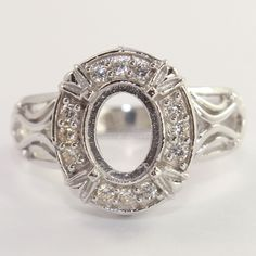 Beautiful 925 Silver Ring Top White CZ Semi Mount Setting 7x9 mm Oval ALL SIZES #Unbranded