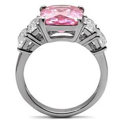 Pretty in Pink - Beautiful Stainless Steel Comfort-Fit Ring with Pink Tourmaline and Clear Cubic Zirconias