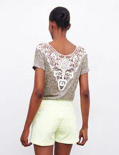 Tee-shirt dos macramé gris chiné