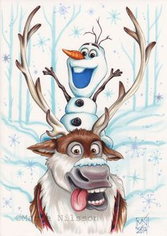 Sven and Olaf Frozen Print by ArtByKattvalk on Etsy, kr65.00