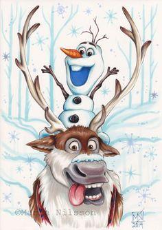 Sven and Olaf Frozen  Print by ArtByKattvalk on Etsy, kr65.00
