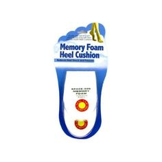 """144 Memory foam heel cushion by FindingKing. $249.99. A pair of white memory foam heel cushions to help reduce heel shock and pressure. Comes with double-sided adhesive pads. The set comes in blister card package. Each measures 4 1/4"""" x 2 3/4"""" tapering from 1"""" to 1/8""""."""